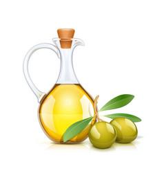 green olive oils bottle vector image