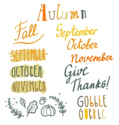 Hand drawn cute autumn lettering set vector