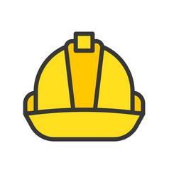 Hard hat filled outline icon carpenter and vector