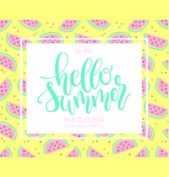 hello summer hand lettering poster on watermelon vector image