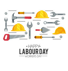 Helmet equipment with hammer and saw to labour day vector