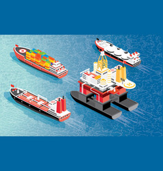 Isometric oil rig cargo ship container lng vector