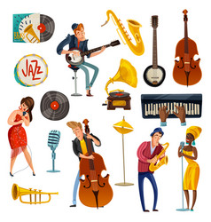 Jazz music cartoon set vector