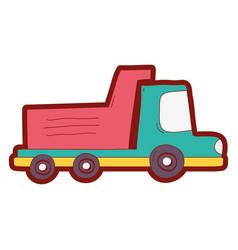 Line color dump truck industry and contruccion vector