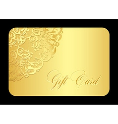 Luxury golden gift card with rounded lace vector