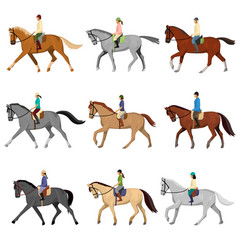 Man and woman riding horse isolated against white vector
