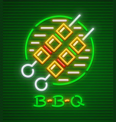 Meat shashlik barbecue neon vector