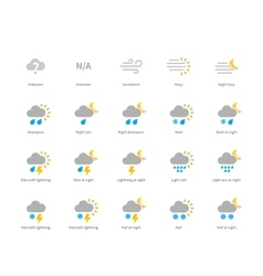 Meteorology colored icons on white background vector image