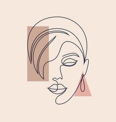 minimal woman face vector image