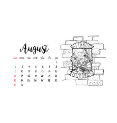 Monthly desk calendar template for month august vector