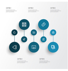 Multimedia outline icons set collection of tuner vector