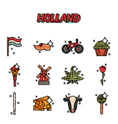 Netherland flat icons design vector