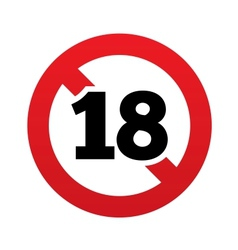 No 18 years old sign Adults content icon vector