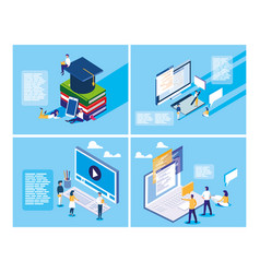 Online education with mini people and set icons vector