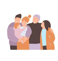 Parents young holding newborn baand elderly vector