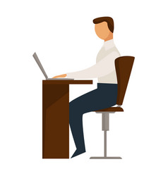Person sitting in chair behind desk properly vector