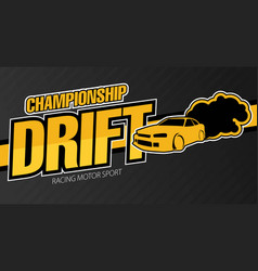Race car drifting flat banner vector