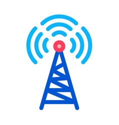 radio tower antenna icon outline vector image