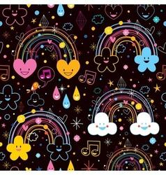 Rainbows clouds hearts cartoon pattern vector
