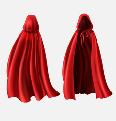 Realistic set of red cloaks with hoods vector