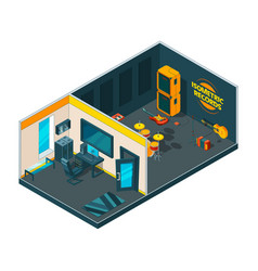 recording studio interior 3d isometric pictures vector image