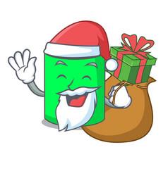 Santa with gift mug mascot cartoon style vector