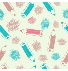 Seamless background with pencils vector image