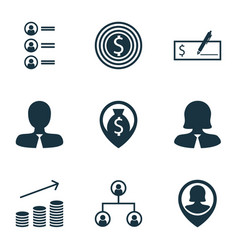 Set of 9 human resources icons includes business vector