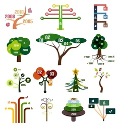 Set of tree infographic design templates vector