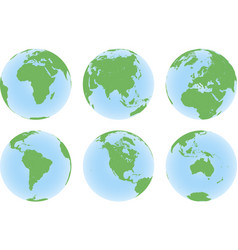 set six planet earth globes with green land map vector image