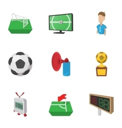 Soccer icons set cartoon style vector