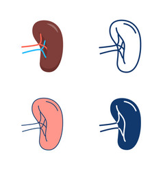 Spleen icon set in flat and line style vector