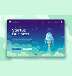 startup launch landing page rocket launch easy vector image