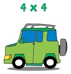 Transportation 4x4 cartoon art vector image