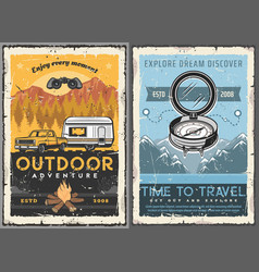 travel tourism trailer home retro posters vector image