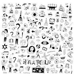 travel transportation - hand drawn doodle set vector image