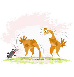 two ostriches and crow vector image