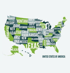 united states america map print poster design vector image