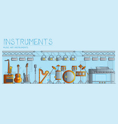 variety of different music instruments and playing vector image