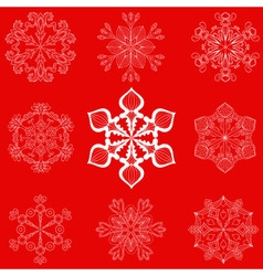 Vintage snowflake set in zentangle style 25 vector