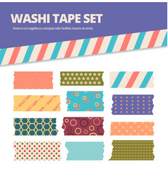 washi tape set japanese stripes stickers vector image