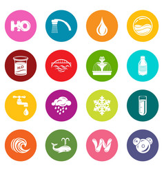 water icons set colorful circles vector image