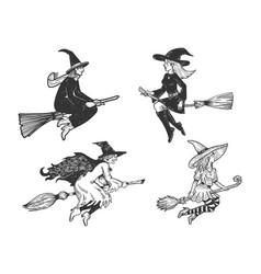 Witch on broom set line art sketch vector