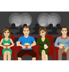 Young people smiling watching movie together vector