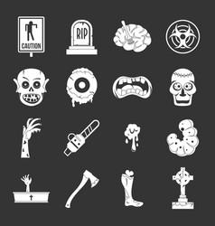 zombie icons set grey vector image