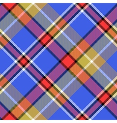Blue bright color check plaid seamless fabric vector