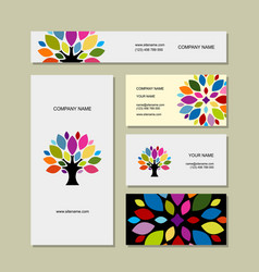 business cards collection art tree design vector image vector image