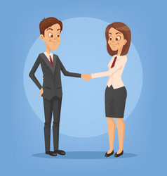 happy smiling businesswoman and businessman vector image vector image