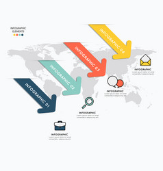 Infographic elements with icons on map background vector