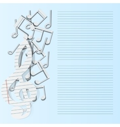 music background musical notes paper fall vector image vector image